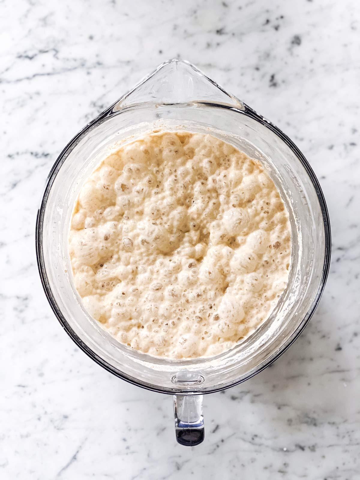 rested sourdough pancake batter