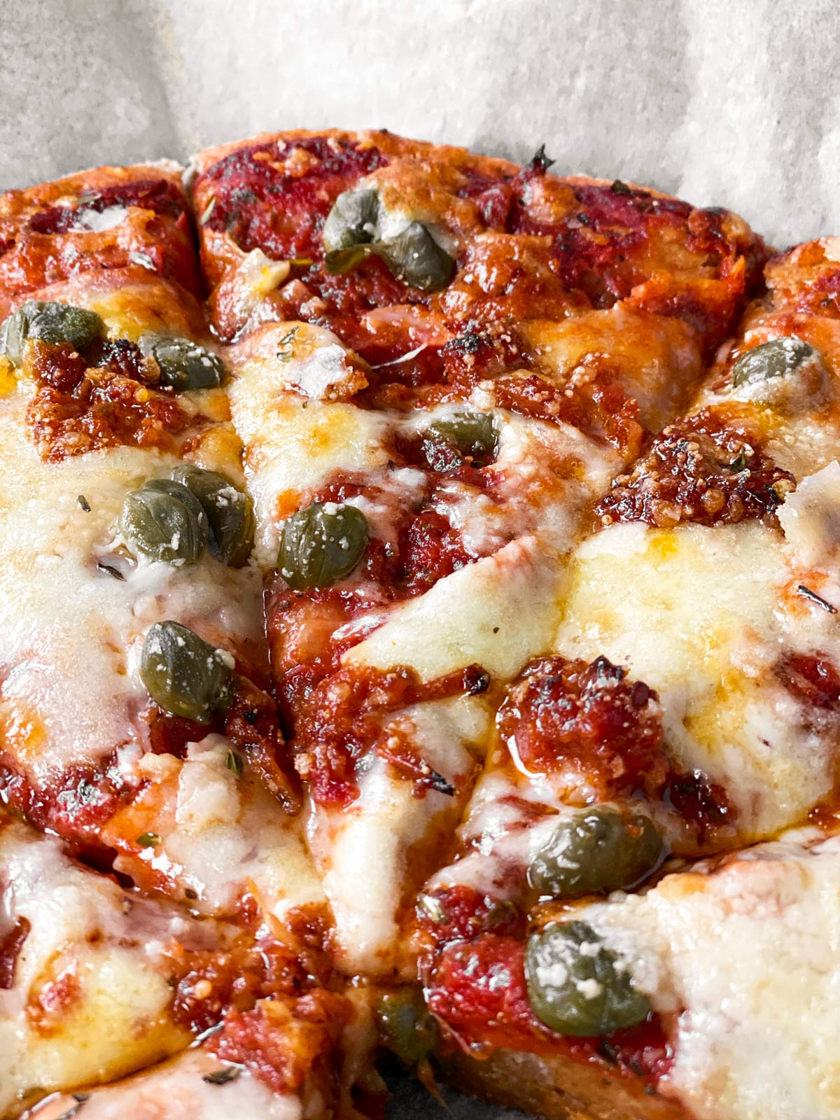 close up photo of baked pizza